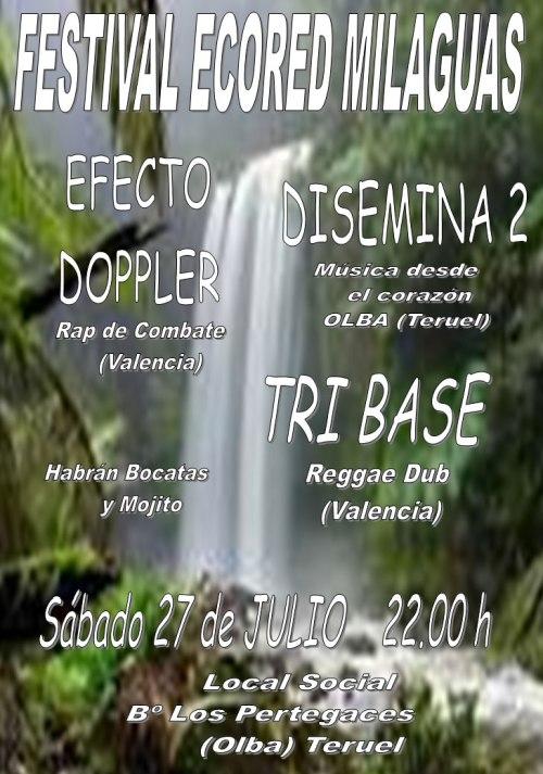 Cartel del Festival Ecored Milaguas, el 27 de julio de 2013, en Los Pertegaces - Olba, a partir de las 22h.